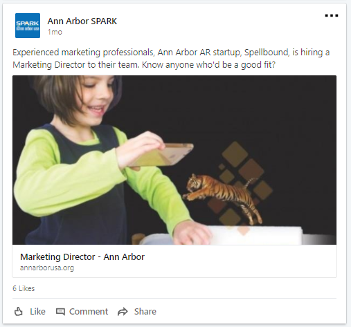 An example of a social media post promoting a new job posting on a community job board
